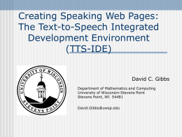 Speech Recognition and Synthesis in an Online Course