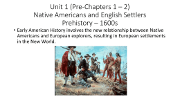 Pre- Unit 1 (Pre Chapters 1 – 3) The New World: Prehistory