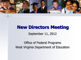What is the Role of NASTID - West Virginia Department of
