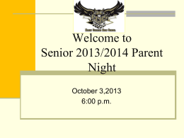 Welcome to Junior and Senior Parent Night