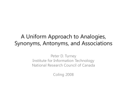 A Uniform Approach to Analogies, Synonyms, …
