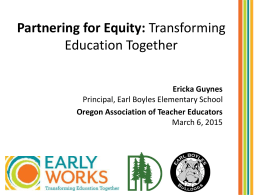Partnering for Equity: Transforming Education Together