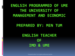 ENGLSIH Programmed of ume the university of …