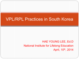 VPL/RPL Practices in South Korea