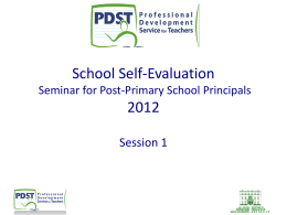 School Self-Evaluation Seminar for Post