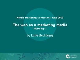 The web as a marketing media