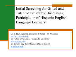 The Identification of Hispanic English Language Learners