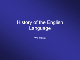 History of the English Language - uni