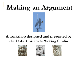 Making an Academic Argument
