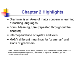 Main Points of Chapter on Grammar