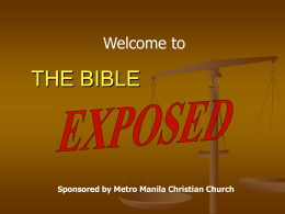 The Bible Exposed - Add To Your Learning