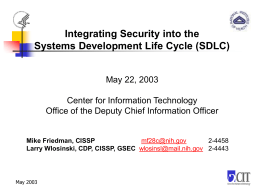 Integrating IT Security into the System Development Life