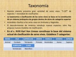 Taxonomia - LA BIOLOGIA Y LAS TIC