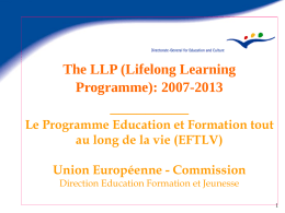 The LLP (Lifelong Learning Programme): 2007