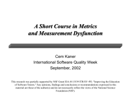 Short Course in Metrics and Measurement Dysfunction