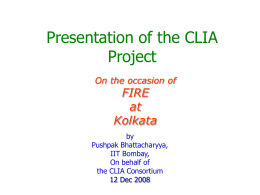 CLIA Project Technical Progress Summary