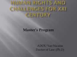 Human rights and challenges for XXI century