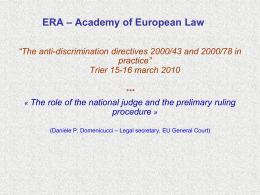 Pregiudiziale ERA Trier 2010