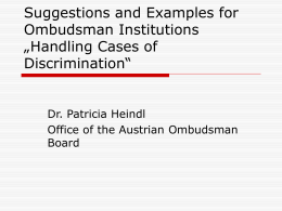 Options for Handling Cases of Discrimination: A How to