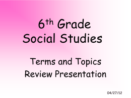 6th Grade Social Studies - Carroll County Public Schools