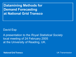 Datamining Methods for Demand Forecasting at NGT