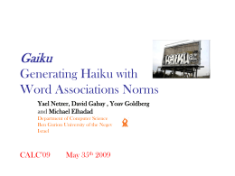 Gaiku Generating Haiku withWord Associations Norms