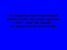 The Anglo-Norman Period, English literature of the late