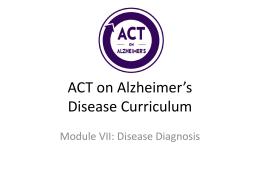 PMA 2020 Alzheimer's Disease Curricula