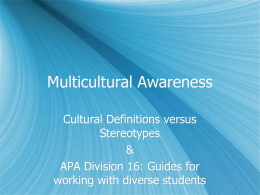 Multicultural Awareness - University of Nevada, Las Vegas