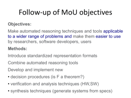 Follow-up of MoU objectives