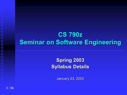 Syllabus details CS 790z