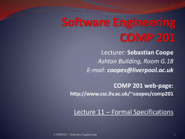 Formal Specification - University of Liverpool