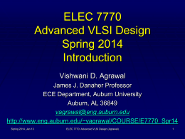 ELEC7770 Advanced VLSI Design Spring 2007