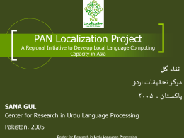 Localization Framework A pre-requisite for widespread