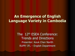 An Emergence of English Language Variety in Cambodia