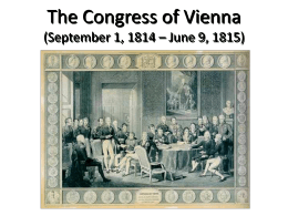 The Congress of Vienna - Great Valley School District