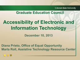 Accessibility of Electronic and Information Technology