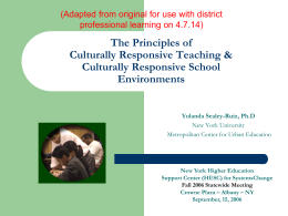 The Principles & Power of Culturally Relevant Teaching