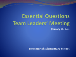 Essential Questions Principals Meeting