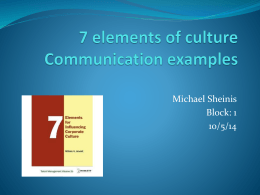 6 elements of culture Examples of communication