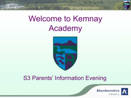 Welcome to the S2 Parents' Information Evening