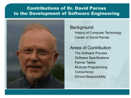 Contributions of David Parnas to the Development of