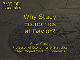 Why Study Economics at Baylor?