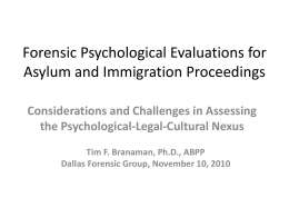Forensic Psychological Evaluations for Asylum and