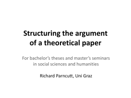 Structuring the argument of a theoretical paper