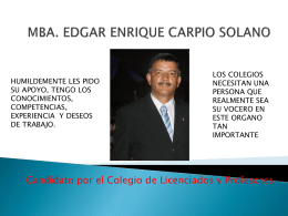 MBA. EDGAR ENRIQUE CARPIO SOLANO