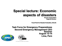 Special lecture: Economic aspects of disasters Ricardo