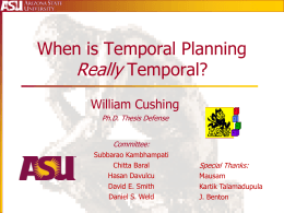 Intro: When is Temporal Planning Really Temporal?