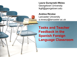 Tasks and Teacher Feedback in the Spanish Foreign …