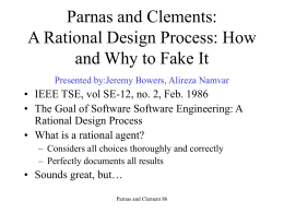 Parnas and Clements: A Rational Design Process: How and